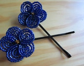 Sapphire Blue French Beaded Flower Hair Pins (set of two)