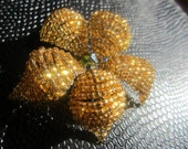Beautiful Gold Japanese Glass Bead and Swarovski Crystal Hair Clip