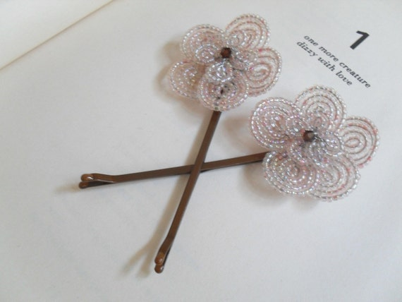 Soft Pink French Beaded Flower Romantic Hair Pins (set of two)