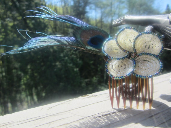 Beautiful Ivory and Midnight Blue Beaded Flower and Peacock Feather Hair Accessory