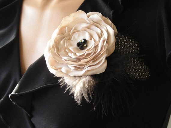 Ivory and Black Flower and Feather Brooch or Hair Clip