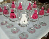 Bachelorette Bridesmaids gift wine glasses, 11 personalized monogram, dress wine glasses for wedding, hot pink and black