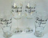Wedding parents of the bride and groom personalized glasses.  4 glasses for Mother and Father of the Bride and Groom gift.
