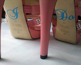 I Do shoe stickers for brides shoes.  Something blue vinyl decal for wedding heels