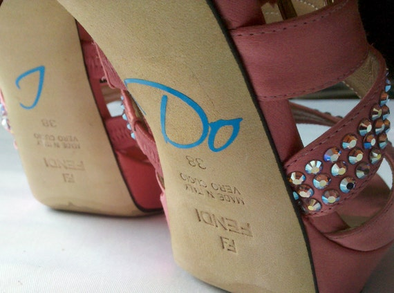 I Do shoe sticker for brides shoes.  Something  blue decal for wedding SALE