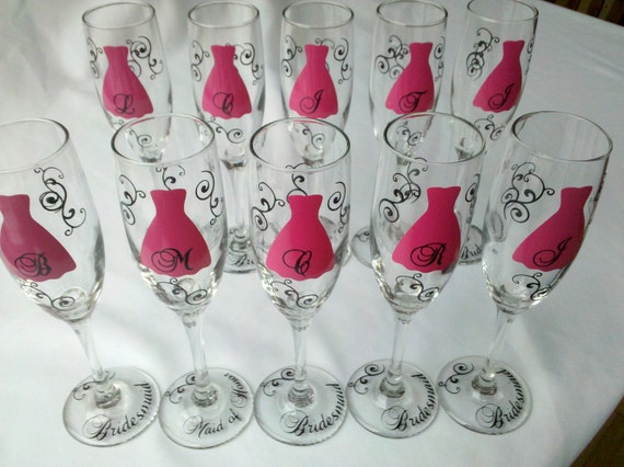 Bridesmaids gift, 10 champagne glasses, Personalized Bachelorette, wedding flutes, fuschia, hot pink, black