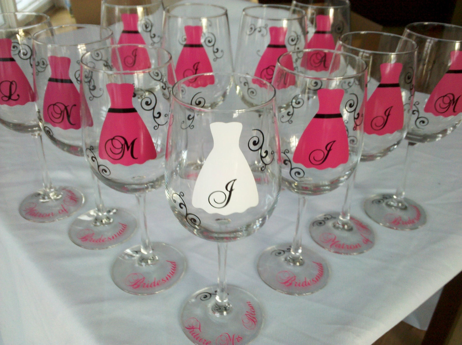 Wedding Gift Wine Glasses : Bachelorette Bridesmaids gift wine glasses 11 by WaterfallDesigns