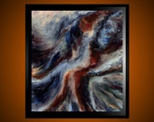 As Dawn Nears -original  expressive abstract oil painting 27 x 30 Free Shipping Free Frame