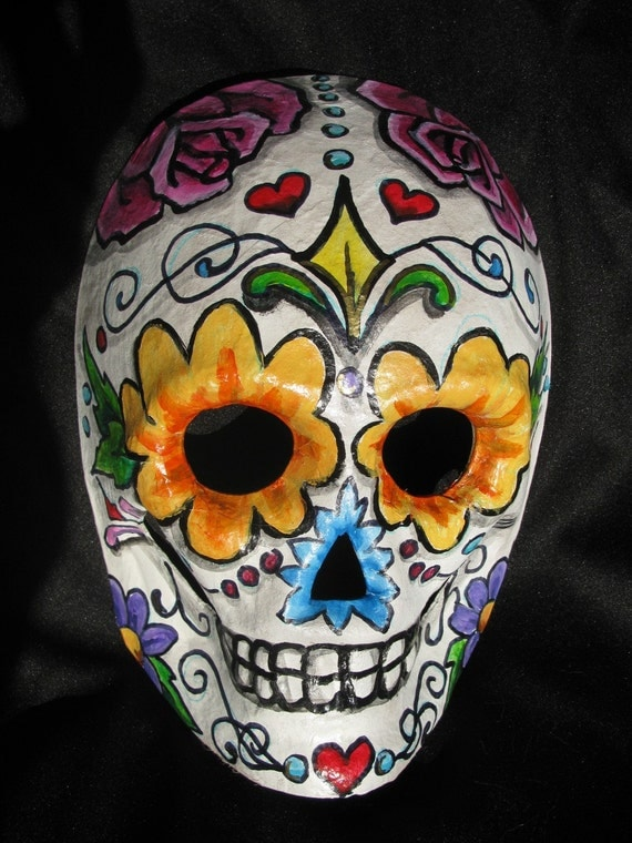 Hand Painted Day Of The Dead Sugar Skull Masks