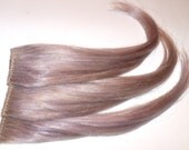 3 Ice Grey Gray Silver White Lavender Clip in Hair Extensions 100% Human Hair Silky Straight