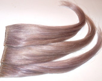 5 Ice Grey Gray Silver White Lavender Clip in Hair Extensions Streaks 100% Human Hair Silky Straight