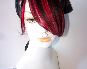 Black and Cherry Crimson Bright Red 100% Human Hair Clip in Bang Fringe Hair Extension