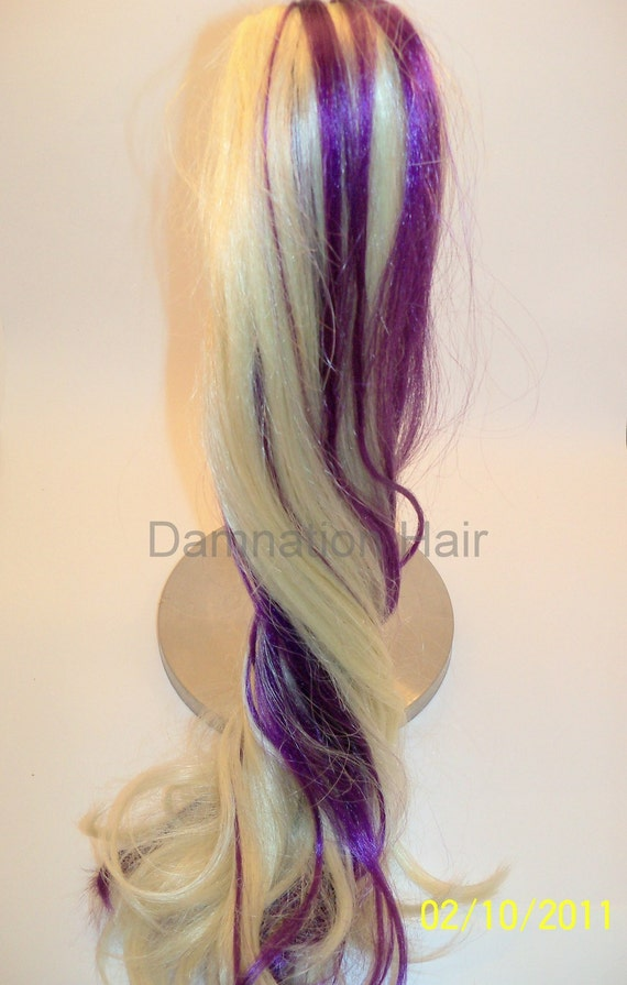 Platinum Blonde and Purple Claw Clip Loose Hair Fall Extensions