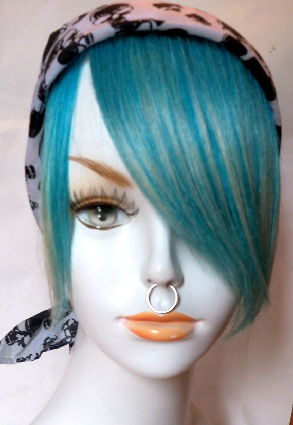 Aqua Blonde Turquoise Teal Green Blue 100% Human Hair Clip in Bang Fringe Hair Extension