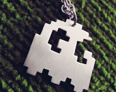 Pacman Pixel Art Ghost Geek Pendant Necklace Geekery Pixel Art Jewelry