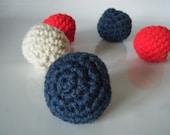 Patriotic Cat Balls- Set of Five- 100% Organic Catnip- Crinkle or Jingle