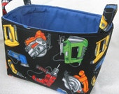 Boys Bin - Power Tools Bin - Storage Bins - Organizer - Storage Basket - Clutter Keeper - Toy Organizer - Construction Design