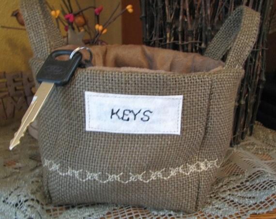 "Small Brown Basket  ""Keys"""