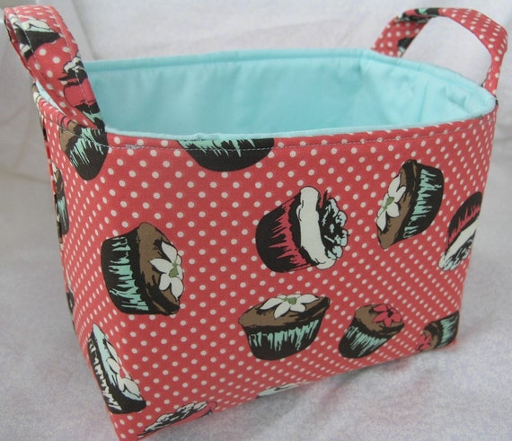 Cupcake Bin - Retro Cupcake - Storage Bin - Organizer - Storage Basket - Clutter Keeper - Kitchen Organizer - Bakers Gift - Home Storage