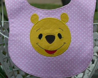 Pooh Bear Baby Bib- Inspired by Winnie the Pooh with Free Monogramming