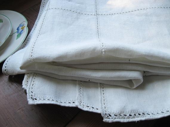Vintage Linen Drawnwork Tablecloth