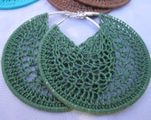Holly Green Crochet Hoops