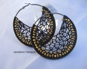Black and Gold chinese crystal crochet hoops