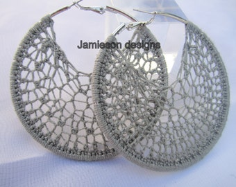 Grey Crochet hoops-by Jamieson Designs
