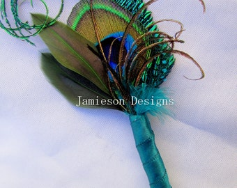 Teal Peacock Feather Boutonniere