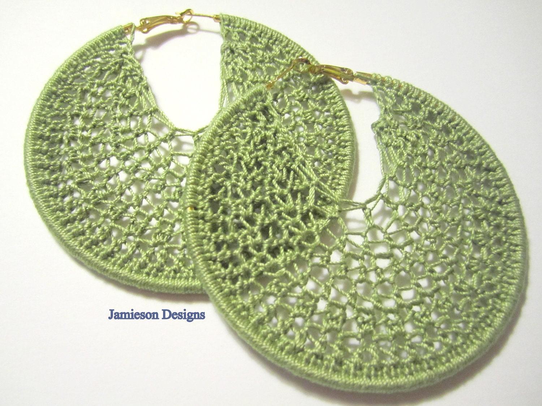 olive green crochet hoop earrings