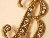 "B Rhinestone INITIAL PIN Crystal Monogram Letter ""B"""