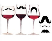 Mustache Party - Mustache wine charms - set of 6  - Fun Party Favors Geekery Decal 110G