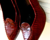 Vintage Red Lizard Delman Stiletto Shoes (New York, Paris) 7-7.5A Exquisite - Mad Men worthy