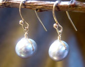 pearl earrings - freshwater pearl, gold wire wrapped earrings - delicate jewelry for bridal or eveyday