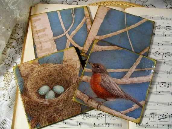 Coasters Nesting Shabby Country Cottage Chic Sweet Bird's Nest Coaster Set