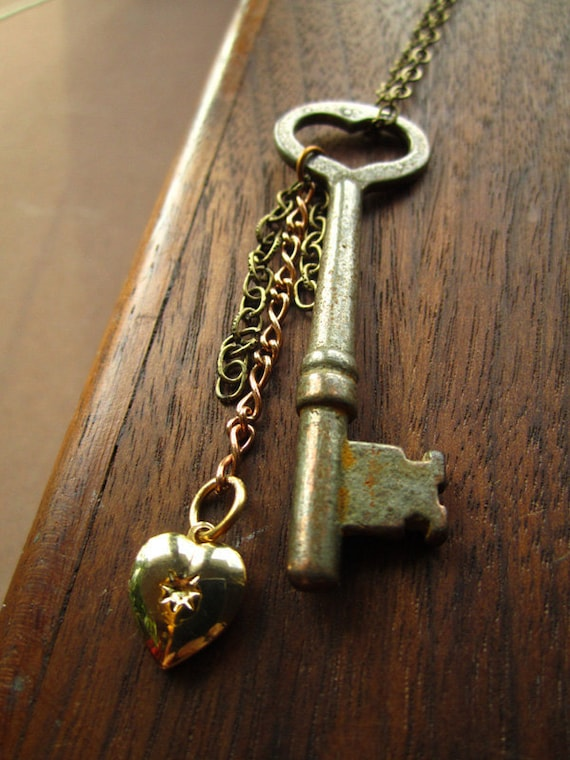 Vintage Skeleton Key with Small Locket
