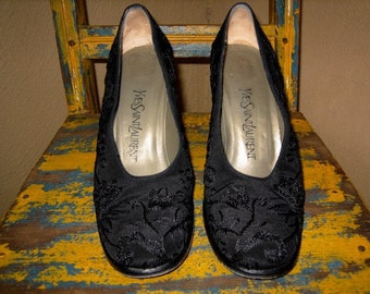 Vintage YSL Yves Saint Laurent EMBROIDERED black  HEELS 8.5