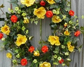 Citrus Wreath - Wreath for Spring and Summertime - Yellow Poppies Orange and Bright Green Wreath