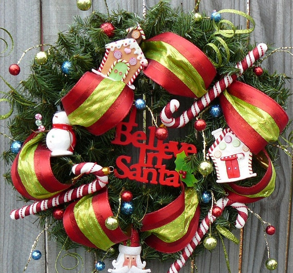 "Christmas / Holiday Wreath - Fun Whimiscal ""I Believe in Santa"" Wreath"
