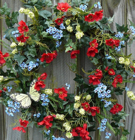 Wreath -  Wild Flower Wreath in Red Green and Blue - Butterfly Wreath