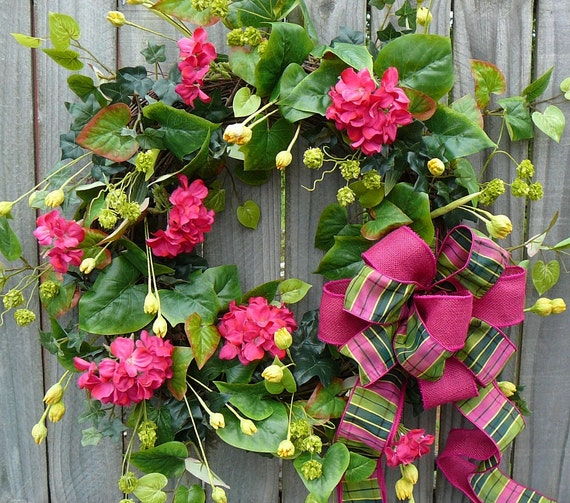 Summer Wreath - Spring / Summer Door Wreath with Pink and Yellow - Beautiful Plaid and Burlap Bow