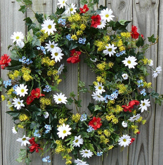 Summer Wreath - Summer Time Door Wreath with Daisies Yellow Red and Blue
