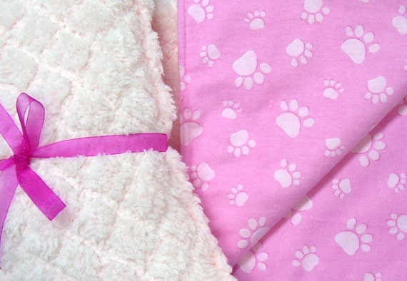 Dog Blanket and Pillow Set, Pink Baby Soft, Pink Paws