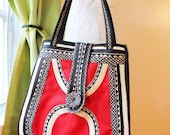 Red and black eco bag.