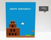 Super Mario 1 Happy Birthday Printable Card (digital file)