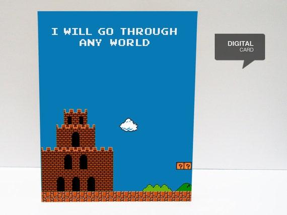 Super Mario 1 (ver. Blue) Valentine's Day Love Printable Card