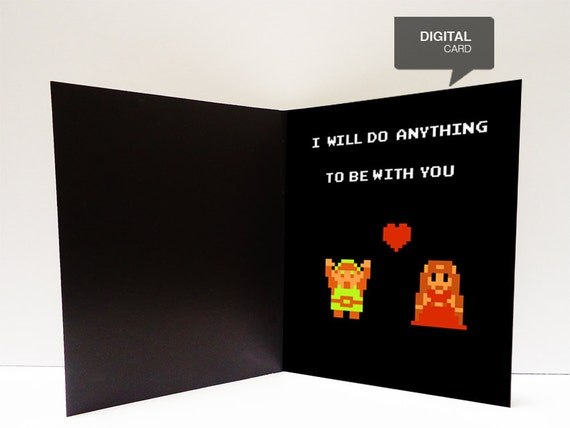 Zelda Valentine's Day Love Printable Card by kiracards on Etsy