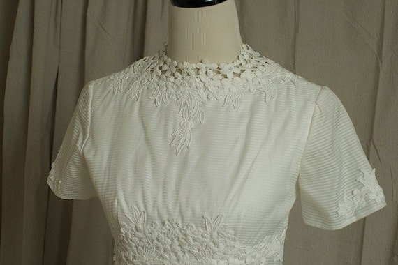 Vintage 1960's Ivory Short Sleeved Nautical Striped Mod Wedding Dress (empire waist-floor length-detachable train-floral-crew neck-ivory)
