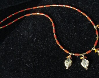 Italian Red Coral and Vermeil Necklace