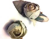 Vintage Paper Flowers Hair or Shoe Clips Set